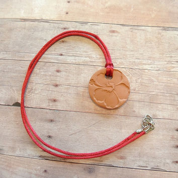 "Hawaiian Hibiscus Flower Terracotta Diffuser Necklace - Essential Oils Red Satin Cord - Small Terra Cotta Clay Pendant 1.25""diameter"