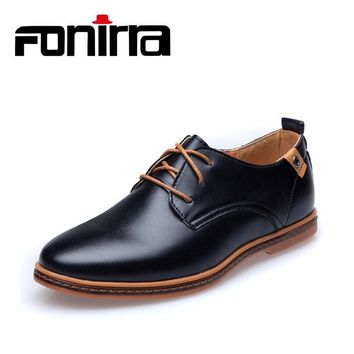 FONIRRA Men Casual Shoes 2019 PU Leather Lace-up Plus Size 38-48 Flat With Shoes Pointed Toe Oxfords Business Shoes 208