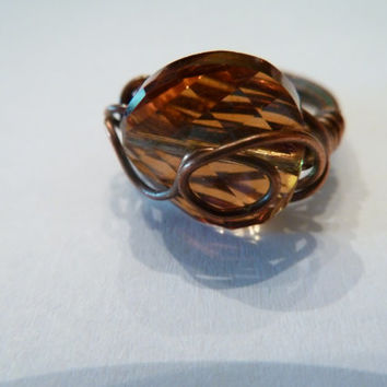 Copper wire wrap ring amber faceted swarovski stone costume jewelry Spring Summer Boho