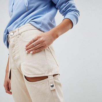 ASOS DESIGN Florence Authentic Straight Leg Jeans In Bone White With Cheeky Thigh Cut Out at asos.com