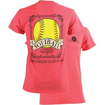 SALE Southern Couture Preppy Vintage Softball Sports Girlie Bright T Shirt