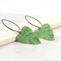 Chartreuse Green Leaf Earrings Brass Patina Handmade Ear Wires Woodland Jewelry Mothers Day Jewelry