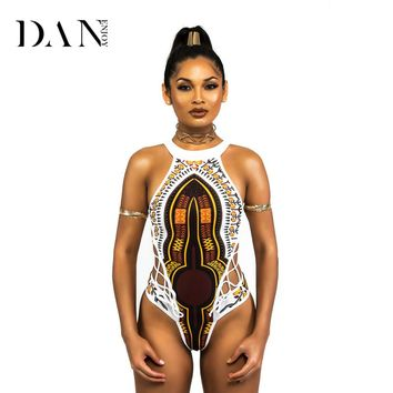 DANENJOY African Brazilian Printing One Piece Swimsuit Monokini Trikini Swimwear Women Bandage Swimsuit High Neck Bathing Suit