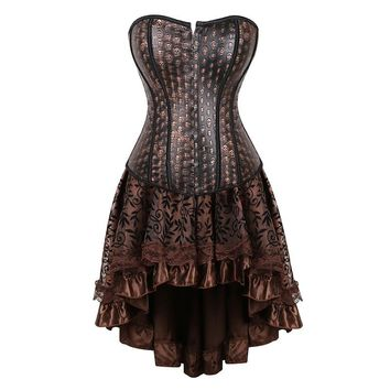 faux leather corset dress woman steampunk halloween costumes burlesque pirate skull bustier skirt set tops brown sexy plus size