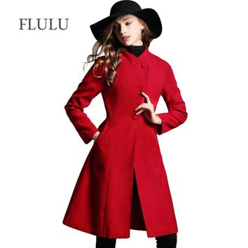 FLULU Winter Fashion Women Coat Casual Vintage Jackets Long Sleeve Blazer Outwear Female Elegant Single Breasted Red Coat