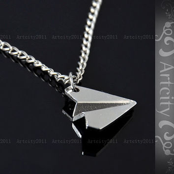 Paper Airplane Necklace  Silver Paper Airplane by TheArtCity