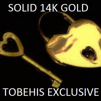 SOLID 14K GOLD Functional Working Heart Shape Padlock Lock &Key -PayPal Payment Plans Available!!- BDSM Slave Bondage Collar
