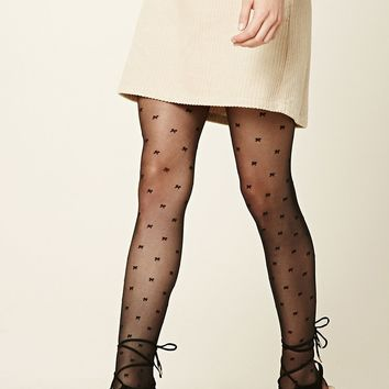 Bow Print Tights
