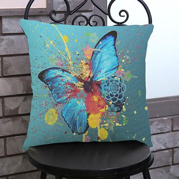 Butterfly Painting Linen Cushion Cover Throw Waist Pillow Case Sofa Home Decor