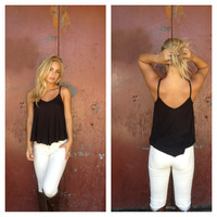 Black Modal Cotton Crop Top