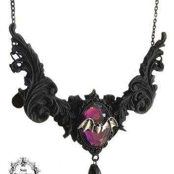 Mina's necklace-gothic vampire necklace-black ornate necklace-bat necklace-gothic pendant