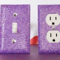 SET of AMETHYST GLITTER Switch Plate / Outlet Covers ANY STYLES