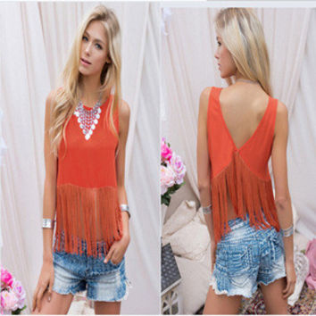 2016 Trending Fashion Tassel Sexy Erotic  T-Shirt Top