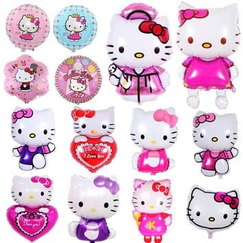 Giant Cartoon Hello Kitty Balloons for Kids Girls Birthday Party Decor Kitty Theme Party Supplies