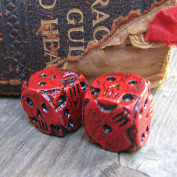 hand made red skull dice, oogie boogie dice, Brian Sharp dice, dice collector gift, rare collectable dice, gaming dice, nightmare dice