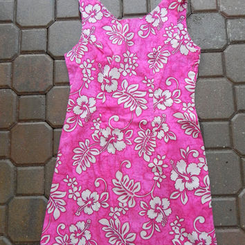 Vintage Aloha Republic Pink Floral Hawaiian Dress Size Medium