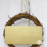 """Clear Chalkboard Sign Wreath - 6"""" Round Grapevine Hanging Wreath Gold With Flower"""