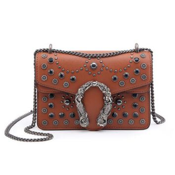 GUCCI Fashion Women New Retro Metal Chain Small Square Bag Rivet Bag Shoulder Bag Crossbody Satchel Shoulder Bag Caramel Color