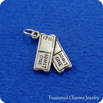 Movie Tickets Charm - Sterling Silver Movie Tickets Charm for Necklace or Bracelet