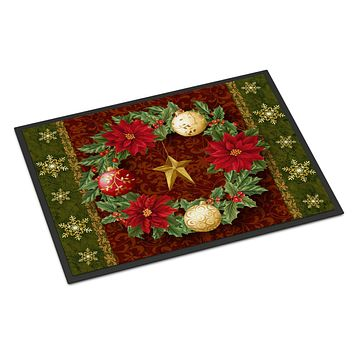 Holly Wreath with Christmas Ornaments Indoor or Outdoor Mat 18x27 PTW2007MAT