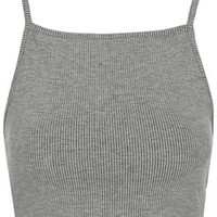 Ribbed Crop Top - Grey Marl