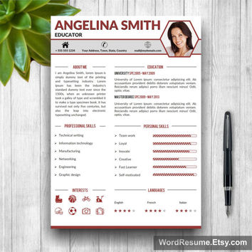 Professional 2 page Resume Template with Cover Letter and Portfolio for Word (US Letter, A4) Modern Resume Design, Instant Download