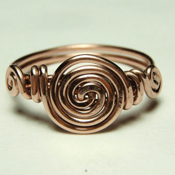 curls copper wire ring custom size 5 to 12-  handmade jewelry by Dereck Maltez