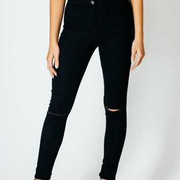 Luxury Denim High Waisted Black Skinny Jeans with Ripped Knees
