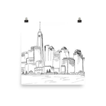 Ink Skyline drawing, New York Cityscape Print, Minimalist poster, Black and White art, Large print, City art, housewarming gift, moving gift