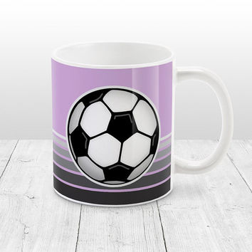 Soccer Ball Mug - Light Purple with Gray Gradient Stripes - Purple Soccer Mug, Soccer Coffee Mug - 11oz or 15oz - Made to Order