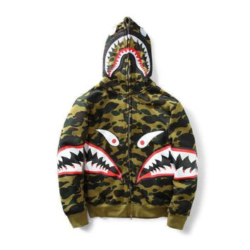 ca kuyou NEW Bape A Bathing Ape Hoodie Sweats Camo Shark Head FULL ZIP Cotton Jacket Coat