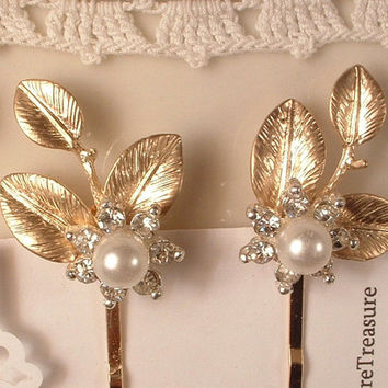 Vintage White Ivory Pearl & Rhinestone Gold Leaves Bridal Hair Pins, Pair Heirloom Gold Plated Jeweled Leaves Bobby Pins Set of 2