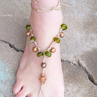 Turtles and Bells Hemp Barefoot Sandals   handmade macrame  hippie  girls womens  beachwear  bottomless sandal foot thong