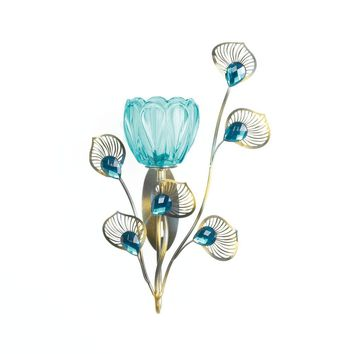 Iron Peacock Blossom Single Sconce