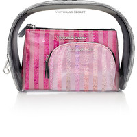 NEW! Sequin Stripe Cosmetic Bag Trio