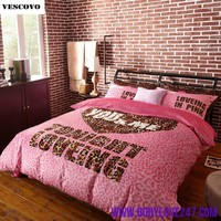 Pink Victoria 's Secret 4 pieces Bedding Set Duvet cover Super Soft Velvet Leopard Korean Fleece Sheet