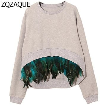 Women's New Sweatshirts With Detachable Feather 2017 Good Quality Front Short Back Long Female's Hoodies All-match Tops SY997
