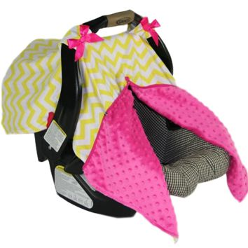 BayB Brand Car Seat Cover - Yellow Chevron & Hot Pink