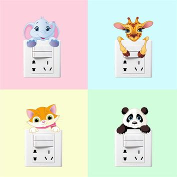 Funny Animals Elephant Cat Panda Giraffe Light Switch Decor Decals Kids Bedroom Nursery Home Decor Carton Mural Wallpaper