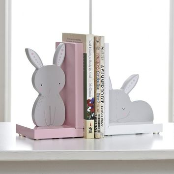 Super Cute Rabbit Style Non-skid Bookends Wooden Art Book Shelf for Kids Home Office Decoration
