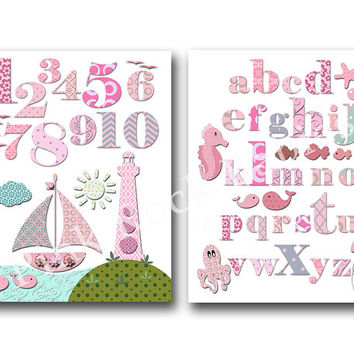 Pink nautical nursery artwork pink ocean nursery decoration alphabet poster nursery wall decor abc print numbers poster kids room wall art