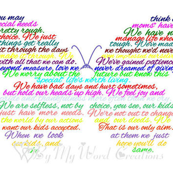 Special Needs Mother Poem Art,  Mother Butterfly Poem Word Art, Unique Handmade Word Art Typography,  PRINTABLE DIGITAL FILE