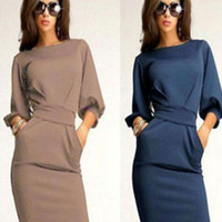 Bishop Sleeve Waist Ribbon Tie with Side Pocket Pencil Mini Dress
