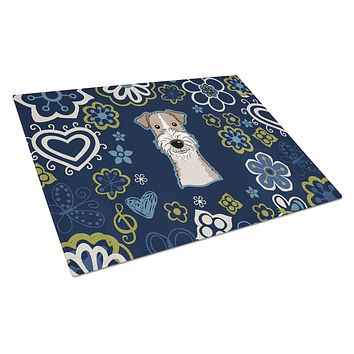 Blue Flowers Wire Haired Fox Terrier Glass Cutting Board Large BB5098LCB
