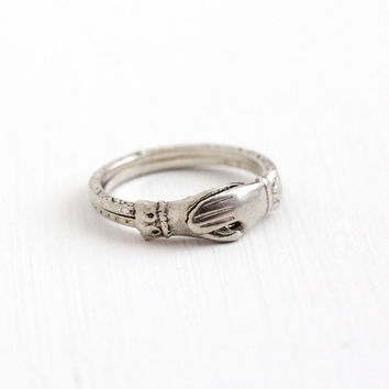 Antique Art Deco Sterling Silver Fede Gimmel Ring - Vintage 1920s Size 5 1/2 Interlocking Hands Rare Betrothal Eternity Flower Jewelry