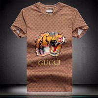 Gucci men and women T-Shirt Black, white, brown M/3XL