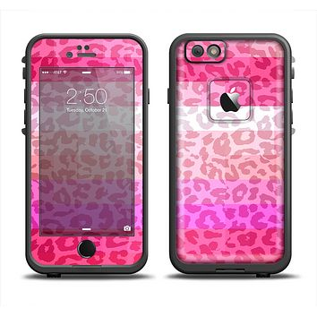 The Hot Pink Striped Cheetah Print Apple iPhone 6 LifeProof Fre Case Skin Set