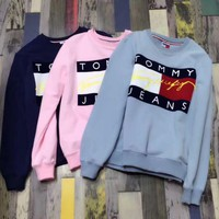 Tommy Hilfiger Jeans Fashion Long Sleeve Pullover Top Sweater Sweatshirt