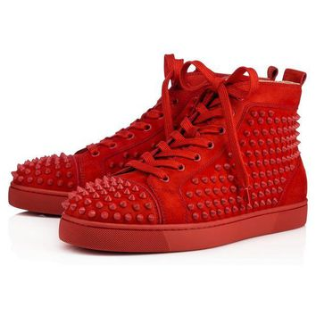 ONETOW Christian Louboutin Louis Spikes Men's Women's Flat Tomette/Tomette Mat Suede