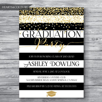 Graduation Party Invitation, Graduation Party Invite, Graduation Invitation, Gold Polka Graduation Invite, Black and White Stripe, Printable